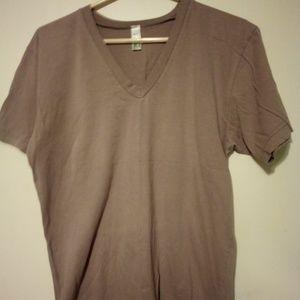 American apparel, tan shirt, short sleeve shirt